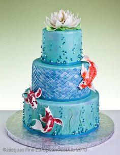 Wow, love the Koi Pond theme of this #cake