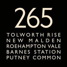 London Bus Blind Bus Route 265