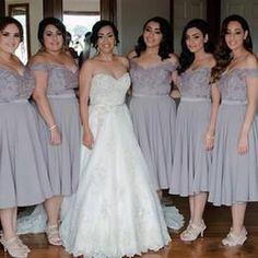 gray Bridesmaid Dress, tea length Bridesmaid Dress,off shoulder Bridesmaid Dress,cheap Bridesmaid Dress, BD5204