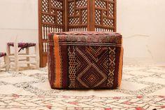 KILIM PILLOW COVER Ottoman Kilim Pouf 20 by Beniouraincarpets