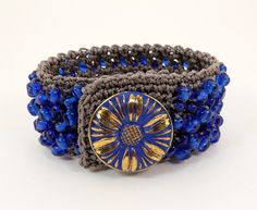 Crochet Cuff Bracelet, Blue Beads and Czech Glass Button, Boho Chic Crochet Bracelet, Thread Crochet, Beaded Bracelet.