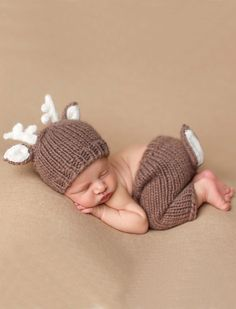 """This adorable """"Hartley"""" deer knit set is perfect for your newborn. These are perfect for a shower gift or photo prop. The set includes the knit hat and knit pants. Hand knit from 100% Super soft Icela"""