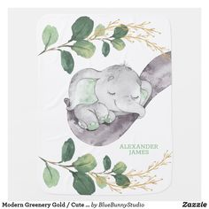 Modern Greenery Gold / Cute Sleeping Baby Elephant Baby Blanket Elephant Baby Rooms, Elephant Baby Blanket, Baby Elephant Name, Baby Elefant, Illustration Art Drawing, Black And White Baby, Blue Bunny, Soft Baby Blankets, Baby Monogram