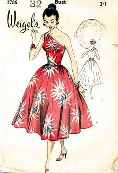 Weigel's 1786; ca. 1950s One shoulder dress floral print red white full skirt island tiki pattern color illustration vintage fashion style
