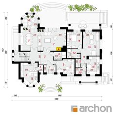 Projekt domu Rezydencja w Myślenicach 3 (P) - ARCHON+ Floor Plans, Houses, House Design, American Houses, Projects, Homes, Architecture, Home Design, Floor Plan Drawing