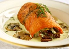Spinach and Pecan Stuffed Salmon Fillet with Hollandaise Sauce