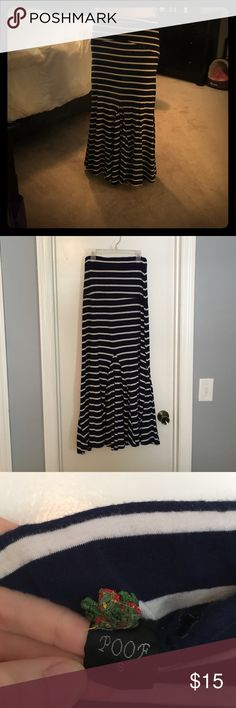 "Navy blue and white stripped maxi skirt Barely worn, in great condition. Blue maxi skirt with pleat design on the bottom. It's 37"" from top of waist to bottom. Skirts Maxi"