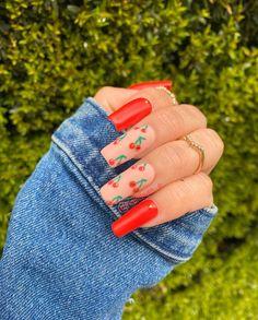 Cute Acrylic Nail Designs, Simple Acrylic Nails, Square Acrylic Nails, Summer Acrylic Nails, Best Acrylic Nails, Spring Nails, Summer Nails, Nail Art Designs, Design Art