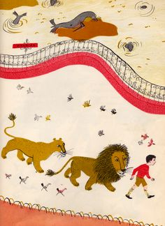 my vintage book collection (in blog form).: The Happy Lion and the Bear - illustrated by Roger Duvoisin