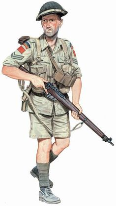 Corporal, Royal 22e Régiment, Italy, 1943. During the summers in southern Italy, the Canadians wore tropical uniforms like the rest of the British 8th Army. This reconstruction by Ron Volstad shows a corporal of the Royal 22e Régiment, the only Francophone regular infantry regiment in the Canadian army during the war. The unit saw its first action of the war during the landings in Sicily in 1943. Note the famous red patch of the 1st Canadian Division on the upper shoulder.