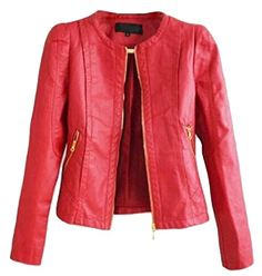 Vska Women Crew Neck Zipper Pockets Casual Slim Fit Moto Biker PU Jackets Red XS