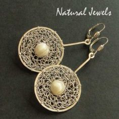 Mother of Pearl Discs - Sterling Silver earrings with a Mother of Pearl - Made by Natural Jewels