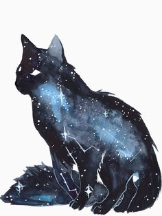 Galaxy Cat by ThreeLeaves. on - Galaxy Cat by ThreeLeaves. Warrior Cats, Art And Illustration, Art Inspo, Animal Drawings, Art Drawings, Drawing Animals, Galaxy Cat, Cat Art, Oeuvre D'art