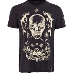 Alexander McQueen Men's Navy Internal Print Skull Tee ($280) ❤ liked on Polyvore featuring men's fashion, men's clothing, men's shirts, men's t-shirts, men, shirts, tops, j crew mens shirts, mens skull shirts and mens short sleeve shirts