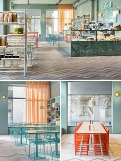 This modern cafe features soft colors, light ash wood, brass, and leather details.