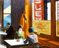 Chop Suey, 1929 by Edward Hopper. Social Realism. genre painting. Private Collection