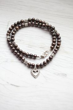 Dark coffee Freshwater Pearl Necklace  Heart by WhiteLilyDesign, $30.00