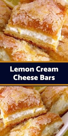 Lemon cream cheese bars are a variation of the traditional lemon bars, made with crescent roll dough and a lemony cream cheese filling. This recipe is wonderful! This recipe is wonderful! A new twist on plain cheesecake barsand SO easy! Lemon Desserts, Köstliche Desserts, Lemon Recipes, Baking Recipes, Delicious Desserts, Cookie Recipes, Yummy Food, Lemon Cream Cheese Bars, Lemon Bars