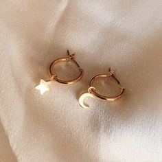 Olivia Star & Moon Gold Hoop Earrings features Gold Plated Over Brass base. These earrings reflect light beautifully and look amazing in pictures. Opal Earrings, Cute Earrings, Gold Hoop Earrings, Stud Earring, Gold Plated Earrings, Simple Earrings, Bridal Earrings, Drop Earrings, Bijoux Piercing Septum