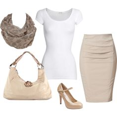 white shirt, nude pencil skirt, nude heels. future business woman :)