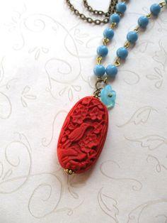 boho chic jewelry designers california | Red cinnabar necklace, boho style - turquoise blue beads, red cinnabar ...