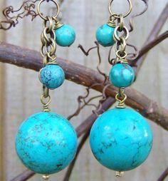 Earrings Turquoise gemstone Bohemian Gypsy by TheeElegantBohemian, $22.00