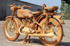 Not a Harley, but still very cool.  AMAZING SOLID WOOD MOTORCYCLE - FULL SIZED!