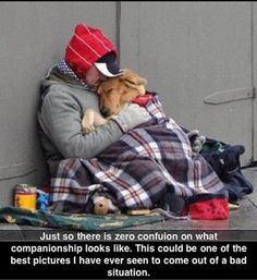 I love this picture. Unconditional love. A homeless man and his dog. Our dogs are the most important things in the world to me and Adam. We would give up everything, but would never give up on our dogs no matter how much money someone offered us.