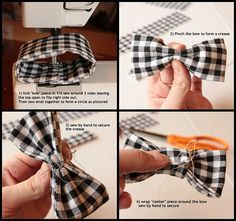 Bowtie tutorial. Used this as a general guideline to make my husband an over-sized bowtie for a show he's in. Now I want to make some to put in my hair. =)
