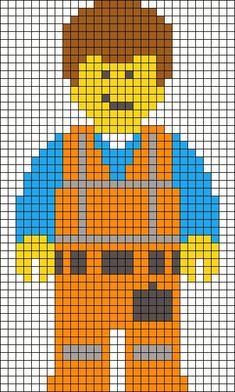 Emmet The Lego Movie perler bead pattern (also good for cross stitch bookmark) Beaded Cross Stitch, Cross Stitch Charts, Cross Stitch Designs, Cross Stitch Embroidery, Cross Stitch Patterns, Pearler Bead Patterns, Perler Patterns, Perler Beads, Pixel Art