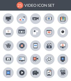 Free #Icons: 25 Video Icon Set by Vecteezy