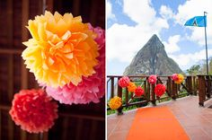 """The breathtaking ceremony backdrop is the island's famous volcanic """"Piton"""". Nothing could compete with it, but a bit of tropical color added to the drama."""