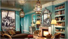 turquoise woonkamer in marokkaanse stijl