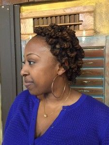Side Swoop with Pipe Cleaner Curls on Locs - Curlynugrowth.com