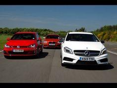 Mercedes A45 AMG vs Volkswagen Golf GTI vs BMW M135i - hot hatch mega te...