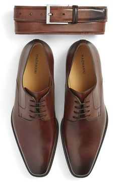 Magnanni Belt & Plain Toe Derby (Men)
