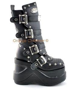"Demonia Womens Cyber Goth Punk 5"" Platform Boots- koko EU38,5-39,5/ UK5,5-6/ US7,5-8"
