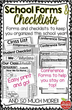 Get organized for the new school year! Huge pack of school forms and checklists. Everything you need to get you started off on the right foot!