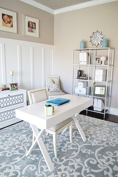 Creative home office - love the floating desk and the metal shelves eclecticallyvintage.com