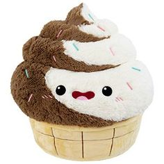 Comfort Food Swirl Soft Serve: An Adorable Fuzzy Plush to Snurfle and Squeeze! Food Pillows, Cute Pillows, Diy Pillows, Food Plushies, Cute Bear, Big Animals, Cute Stuffed Animals, Cute Plush, Comfort Food