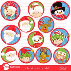 80%OFF Christmas faces clipart Christmas by AMBillustrations