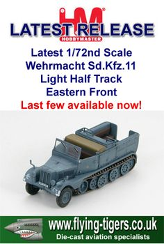 HG5102 Latest 1/72nd Scale Wehrmacht Sd.Kfz. 11 'German Army Light Half-Track' - Classic Hobbymaster armour, Last few available now!