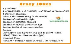 Welcomenri - India's leading portal for Non Resident of India Santa Banta Jokes, Crazy Jokes, Latest Jokes, Blink Of An Eye, Jokes In Hindi, Read More, This Or That Questions, Student, Thoughts