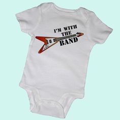 I'M With the BAND Bodysuits, Tees, Rock and Roll, Guitar, Music, Piano, Adorable, Baby, Infant, Newborn, Baby Shower, Party Favor. $14.00, via Etsy.