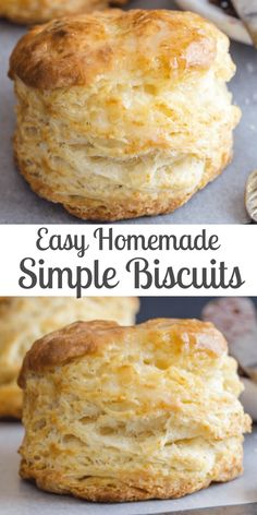 These Simple Biscuits, are buttery and flakey and everything a biscuit should be. Fast and easy to make and just in time for dinner! dinner for 2 Easy Homemade Simple biscuits - Flaky & Tender Biscuits Biscuit Bread, Breakfast Biscuits, Biscuit Recipe With Bread Flour, Biscuit Recipe With Shortening, Kfc Biscuit, Breakfast Recipes, Free Breakfast, Breakfast Casserole, Homemade Biscuits Recipe