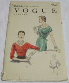 """1950's Vogue 8494 Blouse """"Easy to Make"""" Size 14 Bust 32 Unprinted 
