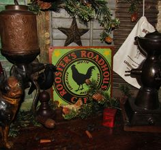 Primitive Antique Vtg Style Retro Star Rooster Roadhouse Cafe Roadside Tin Sign #NaivePrimitive
