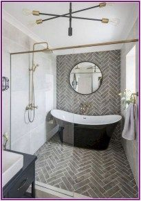Modern Farmhouse, Rustic Modern, Classic, light and airy master bathroom design ideas. Bathroom makeover ideas and bathroom renovation tips. Bathroom Tile Designs, Bathroom Renos, Bathroom Interior Design, Bathroom Renovations, Wet Room Bathroom, White Bathroom, Wet Room With Bath, Bathroom Tile Patterns, Bathroom Tiling