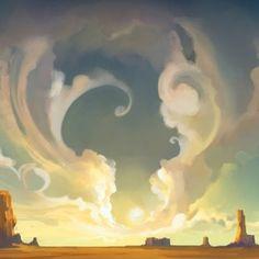 American Desert art for iPad Western Landscape, Fantasy Landscape, Desert Art, Dry Desert, Desert Rose, Game Character Design, Epic Art, Sky Art, Art For Art Sake