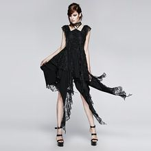 Punk New Design Irregular Decadent Black Gothic Lace Sexy Casual Dress(China (Mainland))